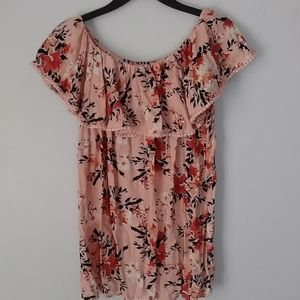 Faded Glory floral off shoulder ruffled blouse